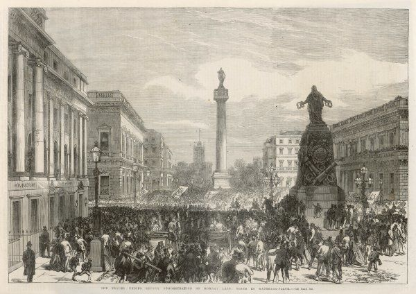 TRADES UNION REFORM demonstration, London : the crowd in Waterloo Place