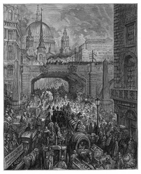 Busy traffic in Ludgate Hill, London