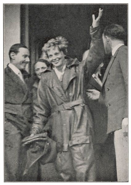 Amelia Earhart at Hanworth after the first woman's Atlantic flight W-E