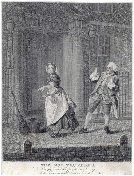 A servant girl trundles her mop on the doorstep of the house, to the discomfiture of an elegantly dressed passer-by