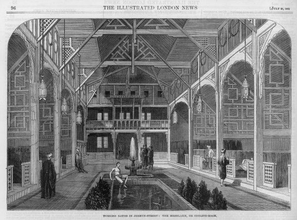 View inside the Turkish Baths in Jermyn Street, London, showing the Meshlakh, or cooling room. (1 of 2)