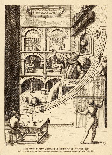 TYCHO BRAHE AT WORK. Tycho Brahe at work in his observatory at Uranienborg, Sweden 1576