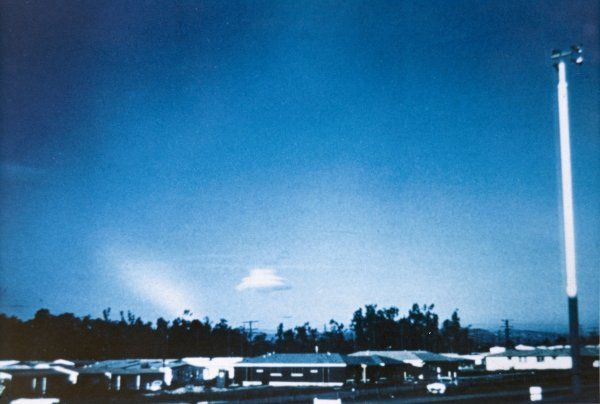 At Phoenix, Arizona, Agnes Sanborn photographs a whirling UFO which is causing the water vapour in the atmosphere to condense into a cloud formation