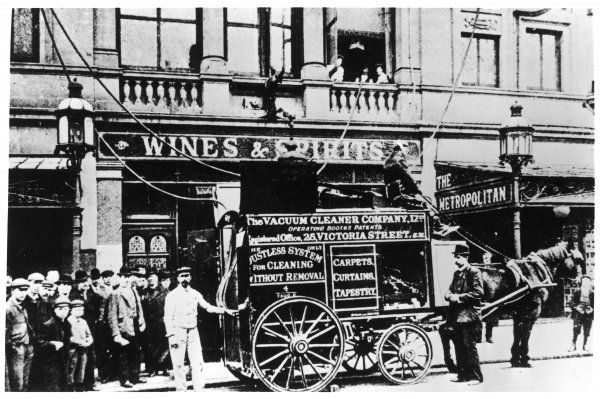 Vacuum cleaning service, in horse and cart form, parked outside the Edgware Road