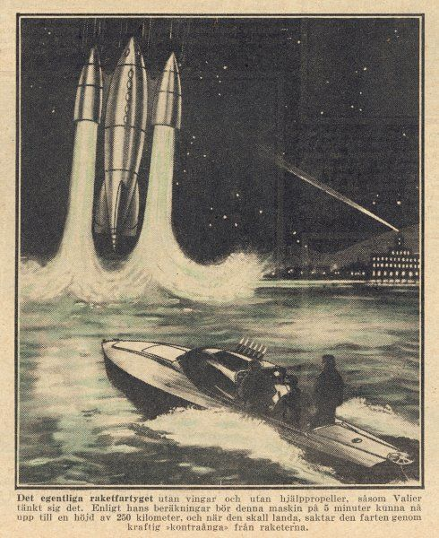 Max Valier, Munich engineer, proposes rocket launch from water for space travel. (1 of 3)