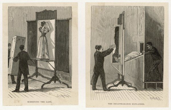 Illustrations showing how the 'Vanishing Lady' trick works