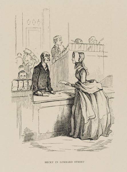 A characteristic specimen of Thackeray's work as an illustrator - 'Becky in Lombard Street'