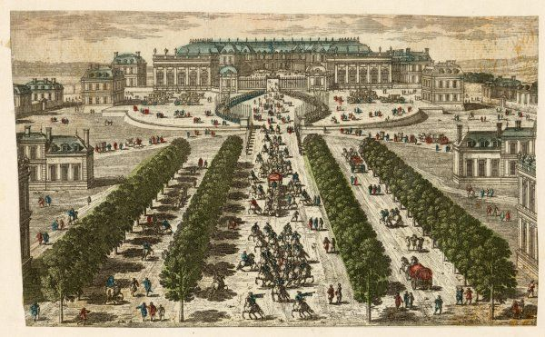 The Palais de Versailles seen from the front, with someone important leaving in a coach with cavalry escort