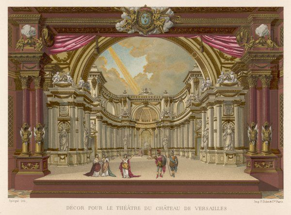 Stage-set designs for productions by Mansard and Vigarani at Louis XIV's Palais de Versailles, France