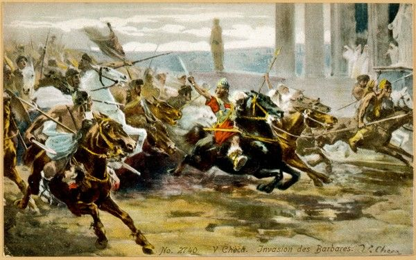 VISIGOTHS SACK ROME. THE FALL OF ROME Alaric's Visigoths ride exuberantly into Rome