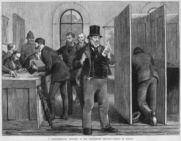 A parliamentary election, voting by secret ballot was only introduced in Britain in 1872 with Gladstone's Ballot Act removing the possible intimidation of open voting
