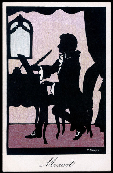 WOLFGANG AMADEUS MOZART Silhouette of the Austrian composer at the piano