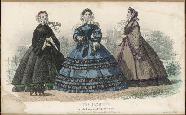 Black velvet mantle, green silk dress; blue silk dress with black & blue flounces, sleeves with puffings & black frills; Pardessus Medici with violet silk ruchings