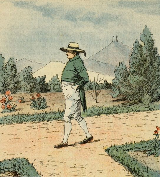 Napoleon walking alone in his garden at Longwood, Saint Helena