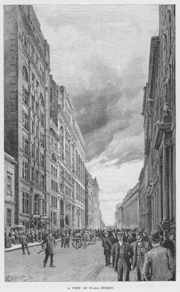 WALL STREET, 1890. A view of Wall Street