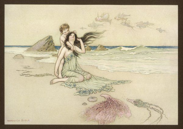 An illustration to the song of the river: 'Play by me, bathe in me, mother & child'; shows a fairy mother her son at the water's edge