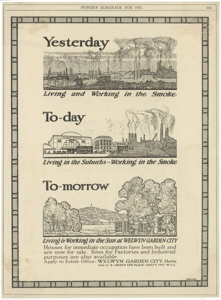 An advertisement for new houses and industrial sites at the new town of Welwyn Garden City, Hertfordshire, an example of town planning, designed to take people away from polluted cities