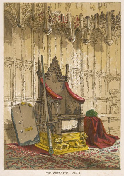The Stone of Scone in its former position beneath the Coronation Chair in Westminster Abbey, London ; it has subsequently been returned to Scotland