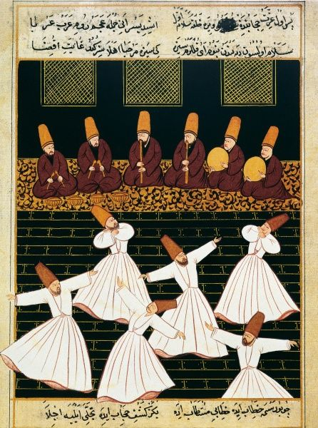 Whirling Dervishes 16th C Ottoman Art Miniature