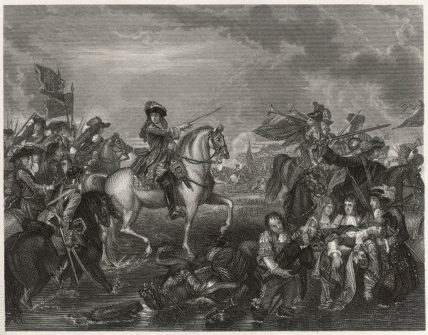 William III of Orange at the Battle of the Boyne, where he defeated James II during the War of the English Succession. The battle took place near the town of Drogheda on the east coast of Ireland