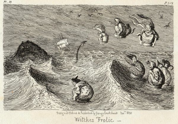 WITCHES' FROLIC. Witches frolicking in the waves