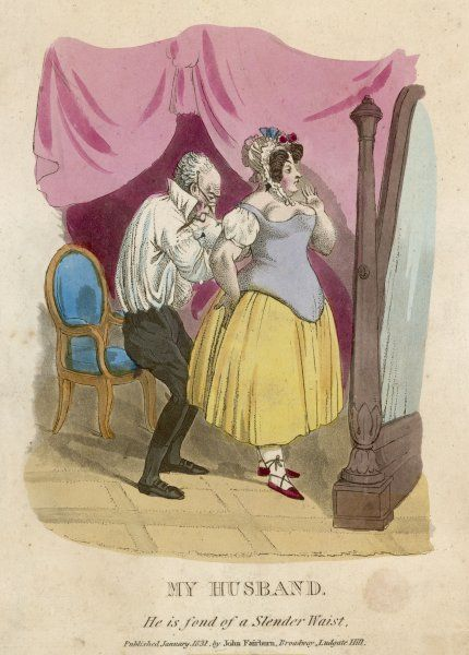 Woman Dressing 1831. A skinny husband helps his plump wife with her corset