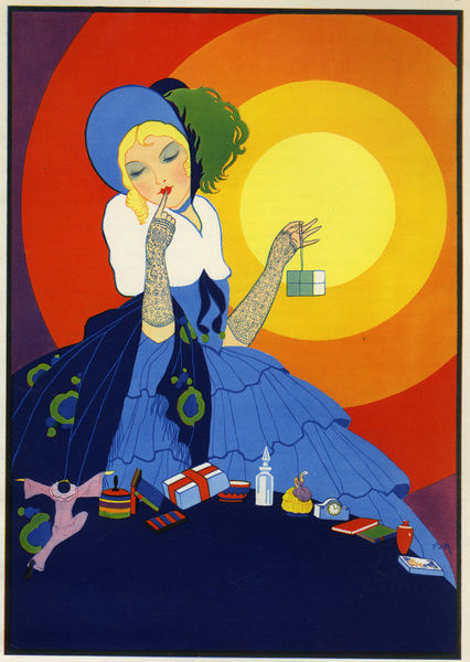 Woman With Many Presents In Art Deco Style 1936 14385792