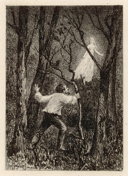 Apparition of a WOMAN IN WHITE in a woodland setting - the classic phantom of the night