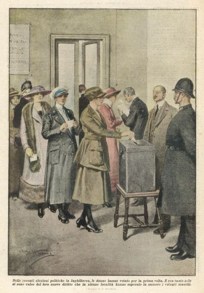 WOMEN VOTING/1918. British women vote for the first time