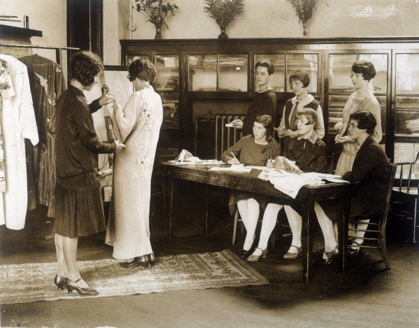 Girls learning the art of salesmanship at the Westminster School of Retail Distribution, London