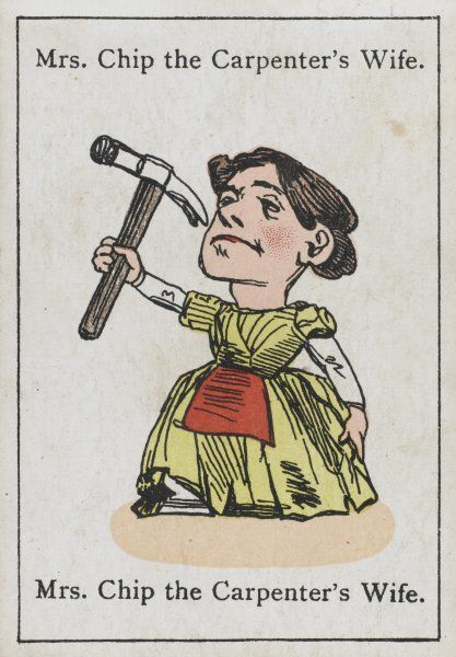 "Mrs Chip the Carpenter's Wife, from ""Happy Families"" devised in Britain by Mr Jacques in 1861"