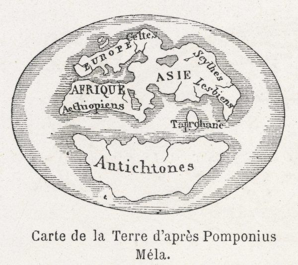 World Map c. 50AD. World Map as known to Pomponius Mela, Roman geographer