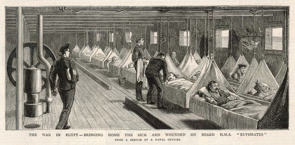 WOUNDED TROOPS 1882. Wounded troops on HMS Euphrates