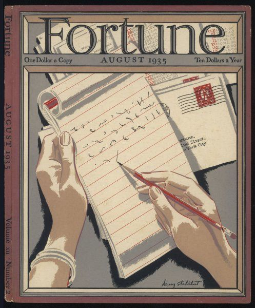 Shorthand writing: an example of Pitman's system, boasting that Fortune magazine has gained over 100, 000 subscribers in five short years