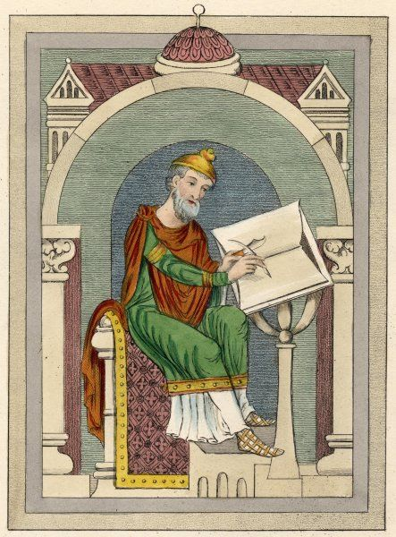 WULFSTAN Archbishop of York 1002 - 1023 English prelate ; advised law to Kings Aethelred and Canute writes with a quill pen