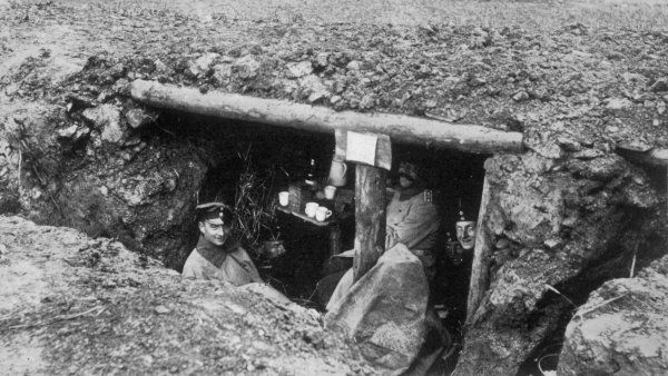 German officers in a 'splinter-proof' shelter, designed to protect the occupants from shell-splinters and shrapnel bullets