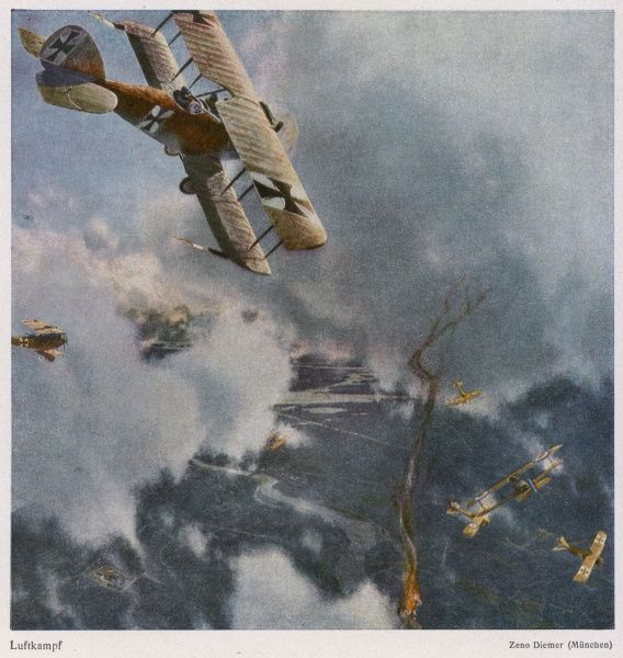 German and Allied aeroplanes in a dog-fight over the Western Front