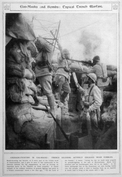 French soldiers using gas masks during combat near Combles