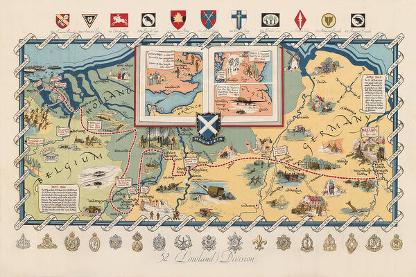 Ww2 poster activities of 52 lowland division screen print screen print poster published circa 1950 showing the activities of the 52nd lowland gumiabroncs Choice Image