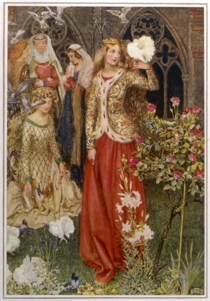 YOUNG GUINEVERE. Guinevere and her ladies-in- waiting, in 'the golden days'