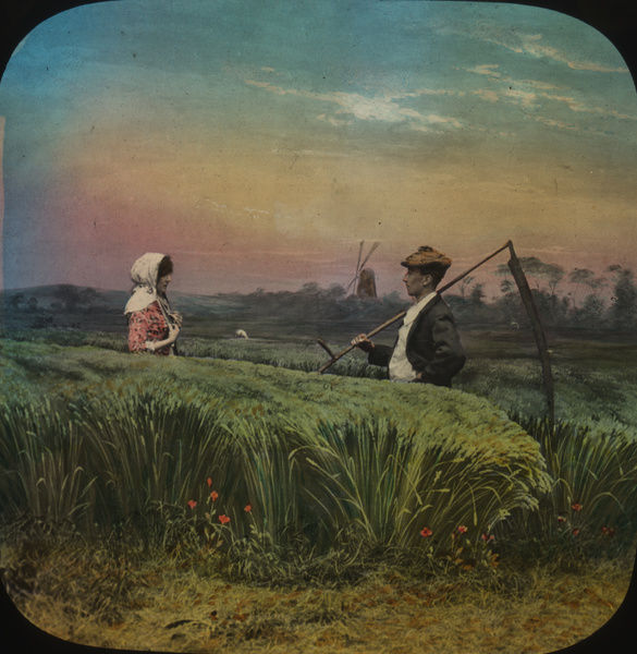 Young man carrying a scythe meets his girl amid the corn