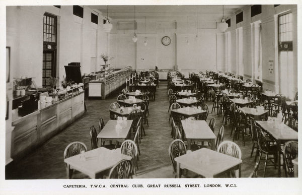 The YWCA - Central Club - Great Russell Street, London - The Cafeteria. Date: circa 1910s