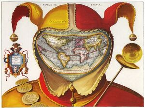 16th century red and yellow Jesters Cap costume map of the world