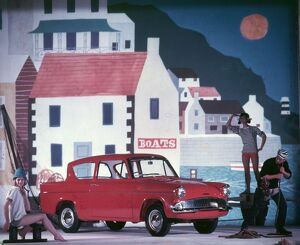 Advertisement for Ford Anglia cars