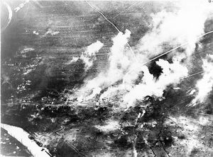 Aerial view of the bombardment of Fort Douaumont, Verdun