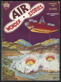 Air Wonder Stories scfi magazine cover, Drying up a lake