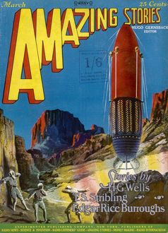 Amazing Stories Scifi magazine cover, The Green Splotches