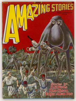 Amazing Stories scifi magazine cover, Octopus Cycle