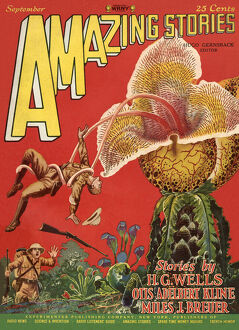 Amazing Stories scifi magazine cover, Giant Plants