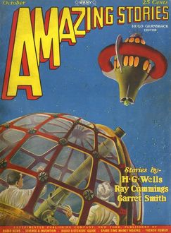 Amazing Stories scifi magazine cover, Aroud the Universe
